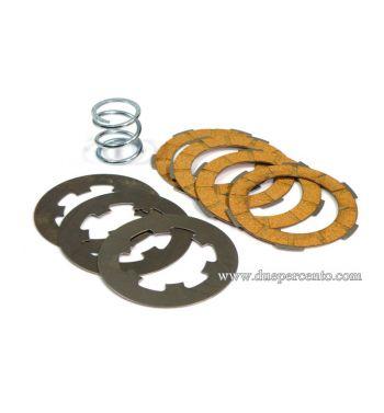 Dischi frizione NEWFREN per frizione monomolla, 4 dischi sughero, 3 infradischi, 1 molla per Vespa 50/ 50 Special/ ET3/ Primavera/ PK50-125