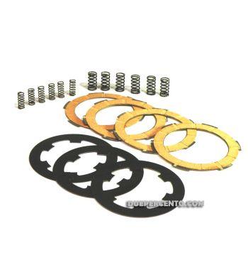 Dischi frizione NEWFREN RACE  per frizione 6 molle, 4 dischi sughero, 3 infradischi, 12 molle rinforzate per Vespa PK50/ S/ SS/ XL/ XL2/ FL/ HP/ N/ Rush/Ape