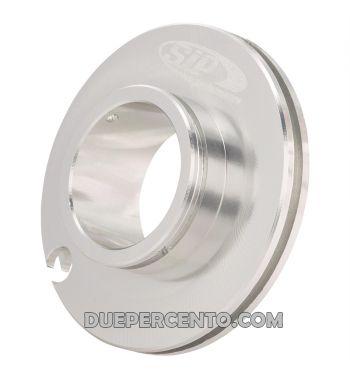 Puleggia corsa corta comando gas SIP ø50mm, argento anodizzato, CNC, per Vespa PK50-125/ ETS/ Rush/ PX125-200/ P200E/ Lusso/ '98/ MY/ '11/ T5