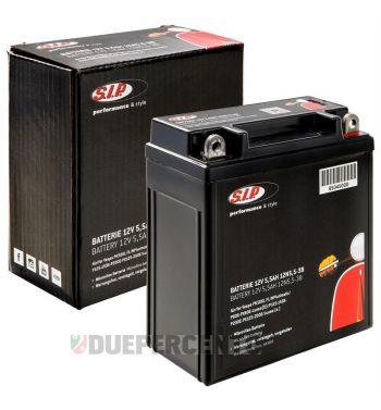 Batteria SIP 12V/5.5Ah, 12N 5,5-3B per Vespa PK50XL FL/ N/ PX125-200E/ Lambretta DL/GP/150 LI 3°