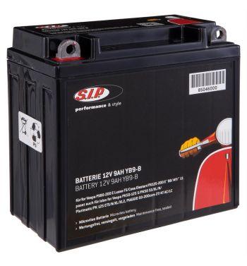 Batteria SIP 12V/9Ah, YB9-B per Vespa PX125-200 E Lusso/ T5/ Cosa Elestart/ PX125-200 E `98/MY/`11/ PK 125 ETS/N/XL/XL2