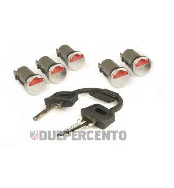 Set cilindretti serrature accensione/sella/bauleto/sportellino laterale, per Vespa PK50-125/S/XL/XL2//PX/PE/Lusso/`98/T5/Cosa