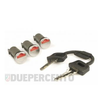 Set cilindretti serrature accensione/sella/bauletto, per Vespa PK50-125/S/XL/XL2//PX/PE/Lusso/`98/T5/Cosa