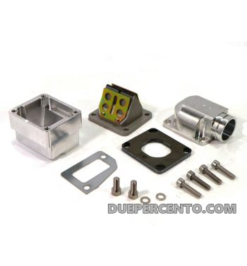 Collettore rdp aspirazione lamellare MRP 38mm, per carter PIAGGIO con foro lungo per  Vespa PX125-200/ P200E/ GT/ Sprint/ TS/ Rally180-200/ T5/ Cosa