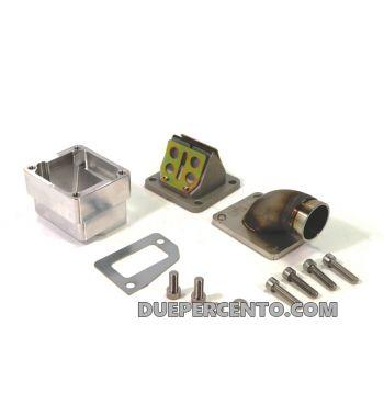 Collettore aspirazione lamellare MRP 35mm, per carter PIAGGIO con foro corto per Vespa PX125-200/ P200E/ GT/ Sprint/ TS/ Rally180-200/ T5/ Cosa
