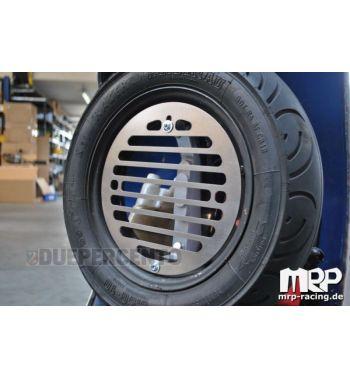 Porta flaconi - tanica, MRP inox, per ruota di scorta Vespa 50/ 50special/ Primavera/ GT/ GL/ Sprint/ VBA