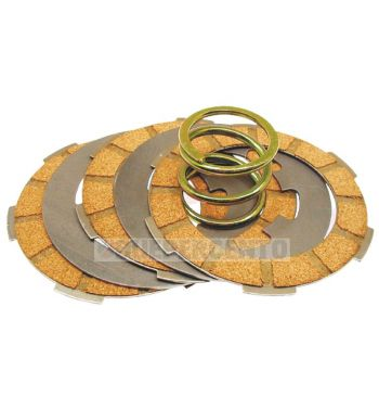 Dischi frizione per frizione monomolla, 3 dischi sughero, 2 infradischi, 1 molla per Vespa 50/ 50 Special/ ET3/ Primavera/ PK50-125