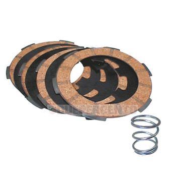 Dischi frizione per frizione monomolla, 4 dischi sughero, 3 infradischi, 1 molla rinforzata per Vespa 50/ 50 Special/ ET3/ Primavera/ PK50-125