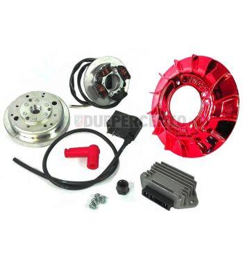 Accensione elettronica VMC EVO cono 20mm, ventola in metallo laccato rosso, 1,47Kg per Vespa PK 50-125/ S/ XL/ XL2/ FL/ HP/ N/ Rush