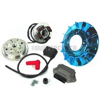 Accensione elettronica VMC EVO cono 19mm, ventola in metallo laccato blu, 1,47Kg per Vespa 50/ 50 Special/ ET3/ Primavera/ PK50-125