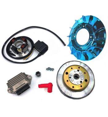 Accensione elettronica VMC 2,2Kg, ventola laccata blu per Vespa PX125-200/ P200E/ RALLY 2°/ COSA/ LML/ LUSSO