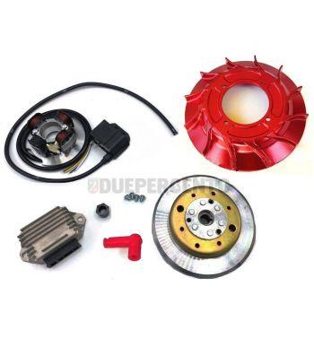 Accensione elettronica VMC 2,2Kg, ventola alluminio cnc rossa per Vespa PX125-200/ P200E/ RALLY 2°/ COSA/ LML/ LUSSO