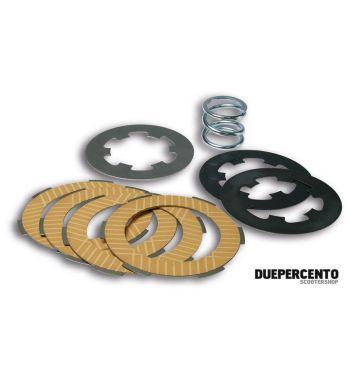 Dischi frizione MALOSSI per frizione 7 molle, 4 dischi sughero, 3 infradischi, 7 molle rinforzate per Vespa PX200/ P200E/ Lusso/ Cosa200/ LML/Rally200/ 160GS/ 180SS