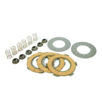 Dischi frizione PINASCO per frizioni 6 molle, 3 dischi sughero, 2 infradischi, 6 molle rinforzate per Vespa PX125-150/ GTR/ TS/ Sprint/ GL/ VNB/ VBA/ LML125-150