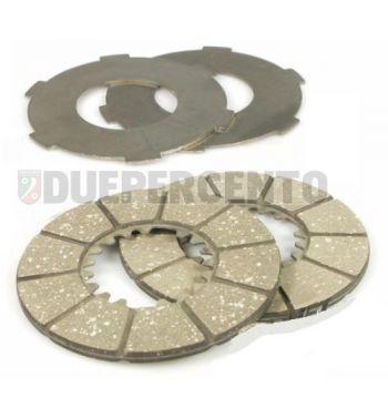 Dischi frizione NEWFREN per frizione 6 molle, 2 dischi sughero, 2 infradischi per Vespa 98/ 125 V1-15T/ V30-33T/ Ape A1-15T