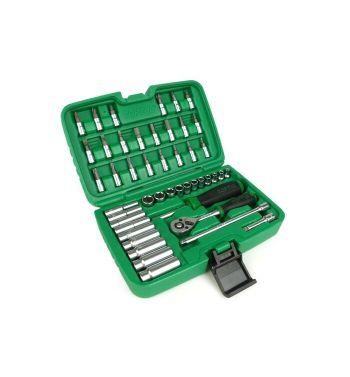 """Valigetta con cricchetto TOPTUL 1/4"""", bussole da 4mm a 13mm + inserti, 46 pezzi"""