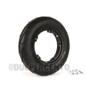 """Ruota completa BGM sport 3.50-10"""" TL 59S con cerchio TUBELESS BGM 2.10-10"""" nero per Vespa Largeframe"""