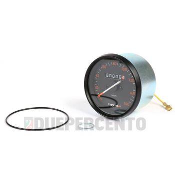 Contachilometri BGM PRO, Ø 85mm, scala 160km/h fondo nero, cornice nera per Vespa P125-150X/ PX125-200E/ Lusso 1°/ P150S/ P200E