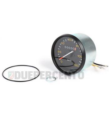 Contachilometri BGM ORIGINAL, Ø 85mm, scala 120km/h fondo nero, cornice nera per Vespa P125-150X/ PX125-200E/ Lusso 1°/ P150S/ P200E