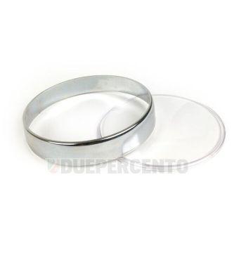Ghiera cromata BGM, con vetro trasparente e 2 gurnizioni per contachilometri Vespa PX125-200 E Lusso/'98/MY/'11