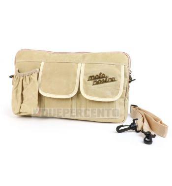 """Borsa MOTO NOSTRA """"Classic"""", tela cerata, beige, con porta bottiglia/lattina, per bauletto porta oggetti, per Vespa/ Lambretta"""
