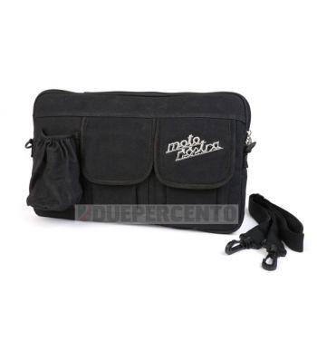 """Borsa MOTO NOSTRA """"Classic"""", tela cerata, nera, con porta bottiglia/lattina, per bauletto porta oggetti, per Vespa/ Lambretta"""