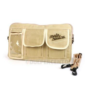 """Borsa MOTO NOSTRA """"Classic"""", tela cerata, beige, con porta cellulare fino a 6,2 pollici, per bauletto porta oggetti, per Vespa/ Lambretta"""