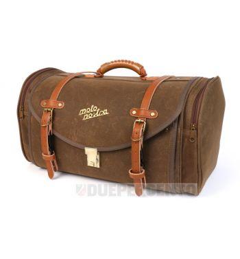 Borsa/valigia MOTO NOSTRA, tela cerata, marrone, per portapacchi Vespa/Lambretta