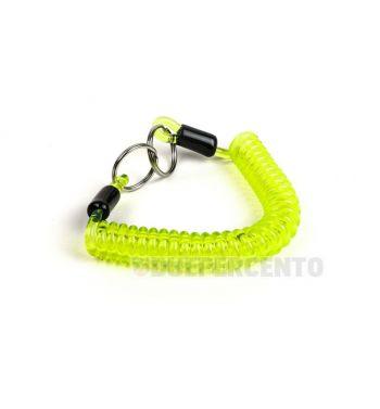 Portachiavi MOTO NOSTRA in gomma a spirale 150mm verde/giallo
