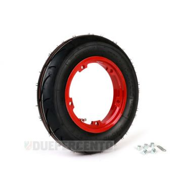 """Ruota completa BGM sport 3.50-10"""" TL 59S con cerchio TUBELESS BGM 2.10-10"""" rosso per Vespa Largeframe"""