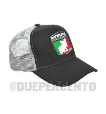 Cappellino nero/grigio DUEPERCENTO Est. 2008