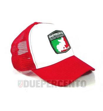 Cappellino bianco/rosso DUEPERCENTO Est. 2008
