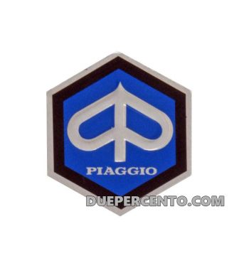 Logo PIAGGIO per nasello Vespa 50 N, S 1966 -> L, R, S, Special, 90, 125 ET3 Primavera, alluminio, 26mm, adesivo, per manubrio Vespa 125 GTR, TS, Sprint V., Rally