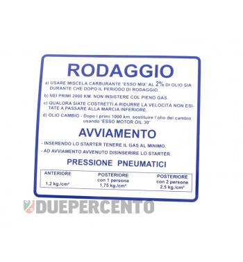 """Adesivo """"RODAGGIO"""" per Vespa 180-200 Rally"""