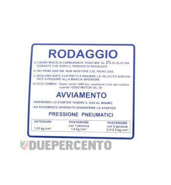 """Adesivo """"RODAGGIO"""" per Vespa 50/ 50 Special/ ET3/ Primavera"""