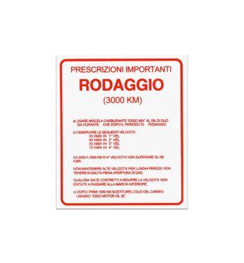 """Adesivo """"RODAGGIO"""" per Vespa 160 GS/ 180 SS"""