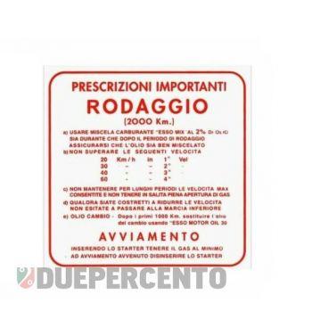 """Adesivo """"RODAGGIO"""" per Vespa 125 VNB/ GT/ 150 VBB/ GL/ TS"""