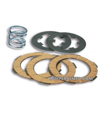 Dischi frizione FERODO per frizione monomolla, 3 dischi sughero, 2 infradischi, 1 molla per Vespa 50/ 50 Special/ ET3/ Primavera/ PK50-125