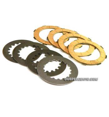 Dischi frizione FERODO per frizioni 8 molle, 4 dischi sughero,4 infradischi per Vespa PX125-200/ GTR/ TS  P200E/ Cosa200/ Rally180-200/ T5