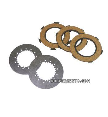 Dischi frizione FERODO per frizioni 6 molle, 3 dischi sughero, 2 infradischi per Vespa PX125-150/ Lusso/ Cosa125-150/ LML125-150/ GTR/ TS/ Sprint Veloce
