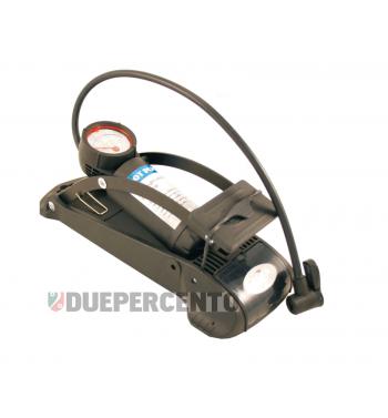 Pompa a pedale completa di manometro, raccordo universale per tutti i tipi di valvola