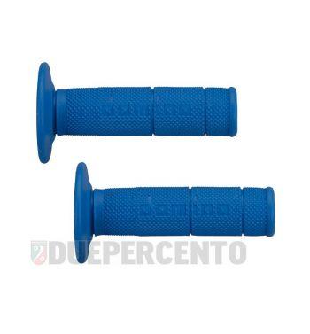 Coppia manopole DOMINO cross-enduro, 22/26 mm, azzurro - estremità chiusa