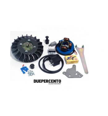 Accensione elettronica PARMAKIT cono 20mm, 1Kg, volano IDM, ventola carbon look per Vespa PK 50-125/ S/ XL/ XL2/ FL/ HP/ N/ Rush