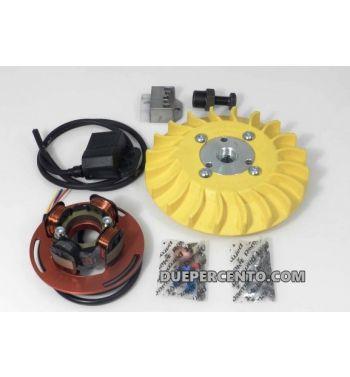 Accensione elettronica PARMAKIT cono 20mm, 1Kg, volano integrale, ventola gialla, per Vespa PX125-200/ P200E/ RALLY 2°/ COSA/ LML/ LUSSO