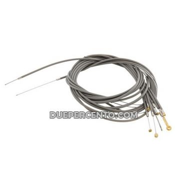 Kit cavi e guaine grigie in teflon per per Vespa faro basso 125 V1-15/ V30-33/ VM/ VN/ 150 VL/ VB1