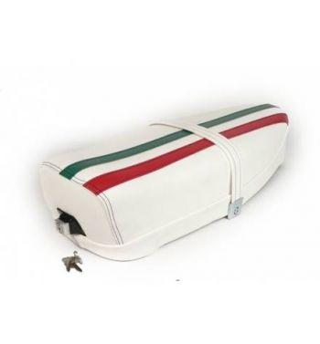 Sella bianca con tricolore con serratura per Vespa50/ ET3/ Primavera