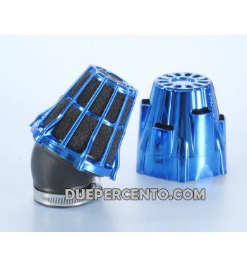 Filtro aria da competizione POLINI 30°, collegamento: 42mm, blu metallico per carburatore PHBH