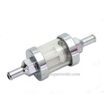 Filtro benzina 6 mm, cromato, trasparente