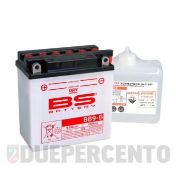 Batteria 12V 9Ah BS BB9-B 135x75x139 per Vespa PX125-200 E/ '98/ MY/ '11/ PK50-125 S/ PK50 SS/ XL/ N/ Plurimatic/ ETS