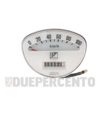 Contachilometri PIAGGIO fondo bianco stemma quadro per Vespa 50 SS/90 SS/ 125 VMA/ Super/ 150 Super